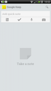 What you see when you first open Google Keep. The UI is really simple.